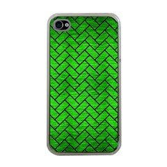 Brick2 Black Marble & Green Brushed Metal (r) Apple Iphone 4 Case (clear)