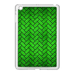 Brick2 Black Marble & Green Brushed Metal (r) Apple Ipad Mini Case (white)