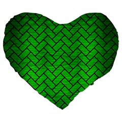 Brick2 Black Marble & Green Brushed Metal (r) Large 19  Premium Heart Shape Cushions