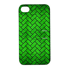 Brick2 Black Marble & Green Brushed Metal (r) Apple Iphone 4/4s Hardshell Case With Stand