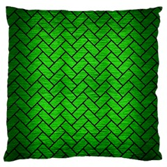 Brick2 Black Marble & Green Brushed Metal (r) Large Flano Cushion Case (one Side)