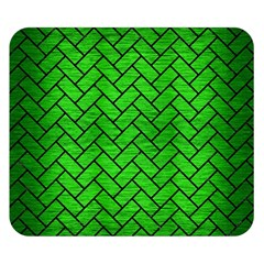 Brick2 Black Marble & Green Brushed Metal (r) Double Sided Flano Blanket (small)