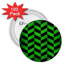 Chevron1 Black Marble & Green Brushed Metal 2 25  Buttons (100 Pack)