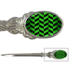 Chevron1 Black Marble & Green Brushed Metal Letter Openers
