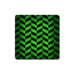 Chevron1 Black Marble & Green Brushed Metal Square Magnet