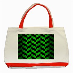 Chevron1 Black Marble & Green Brushed Metal Classic Tote Bag (red)