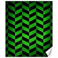 Chevron1 Black Marble & Green Brushed Metal Canvas 8  X 10
