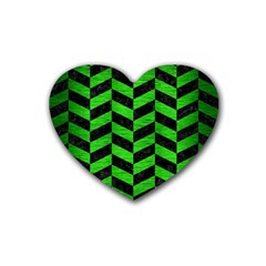 Chevron1 Black Marble & Green Brushed Metal Rubber Coaster (heart)