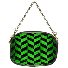 Chevron1 Black Marble & Green Brushed Metal Chain Purses (two Sides)