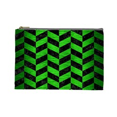 Chevron1 Black Marble & Green Brushed Metal Cosmetic Bag (large)
