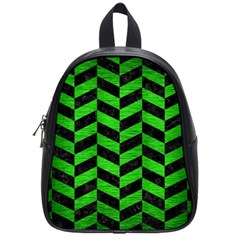 Chevron1 Black Marble & Green Brushed Metal School Bag (small)