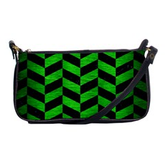 Chevron1 Black Marble & Green Brushed Metal Shoulder Clutch Bags