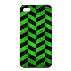 Chevron1 Black Marble & Green Brushed Metal Apple Iphone 4/4s Seamless Case (black)