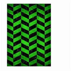 Chevron1 Black Marble & Green Brushed Metal Large Garden Flag (two Sides)