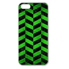 Chevron1 Black Marble & Green Brushed Metal Apple Seamless Iphone 5 Case (clear)