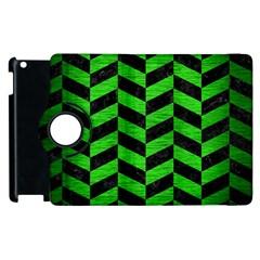 Chevron1 Black Marble & Green Brushed Metal Apple Ipad 3/4 Flip 360 Case