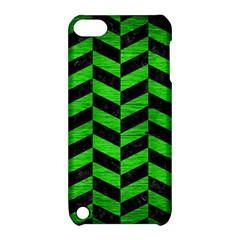 Chevron1 Black Marble & Green Brushed Metal Apple Ipod Touch 5 Hardshell Case With Stand