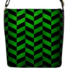Chevron1 Black Marble & Green Brushed Metal Flap Messenger Bag (s)