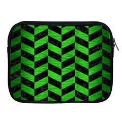 Chevron1 Black Marble & Green Brushed Metal Apple Ipad 2/3/4 Zipper Cases