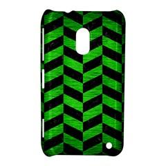 Chevron1 Black Marble & Green Brushed Metal Nokia Lumia 620