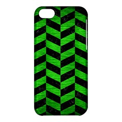 Chevron1 Black Marble & Green Brushed Metal Apple Iphone 5c Hardshell Case