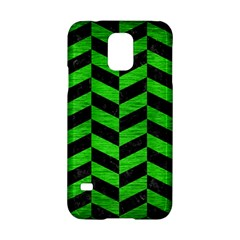 Chevron1 Black Marble & Green Brushed Metal Samsung Galaxy S5 Hardshell Case