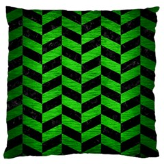 Chevron1 Black Marble & Green Brushed Metal Large Flano Cushion Case (two Sides)