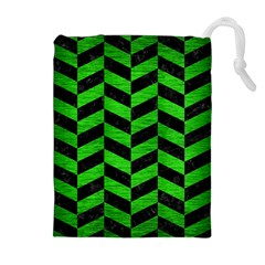 Chevron1 Black Marble & Green Brushed Metal Drawstring Pouches (extra Large)