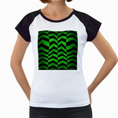 Chevron2 Black Marble & Green Brushed Metal Women s Cap Sleeve T