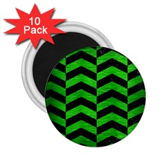 Chevron2 Black Marble & Green Brushed Metal 2 25  Magnets (10 Pack)