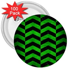 Chevron2 Black Marble & Green Brushed Metal 3  Buttons (100 Pack)
