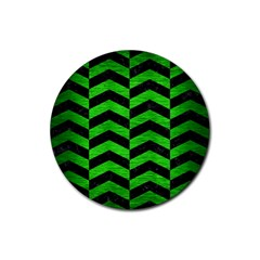 Chevron2 Black Marble & Green Brushed Metal Rubber Coaster (round)