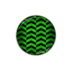 Chevron2 Black Marble & Green Brushed Metal Hat Clip Ball Marker