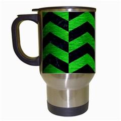 Chevron2 Black Marble & Green Brushed Metal Travel Mugs (white)