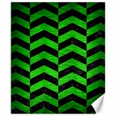Chevron2 Black Marble & Green Brushed Metal Canvas 8  X 10