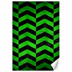 Chevron2 Black Marble & Green Brushed Metal Canvas 20  X 30