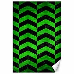 Chevron2 Black Marble & Green Brushed Metal Canvas 24  X 36