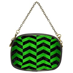 Chevron2 Black Marble & Green Brushed Metal Chain Purses (two Sides)