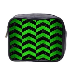 Chevron2 Black Marble & Green Brushed Metal Mini Toiletries Bag 2 Side
