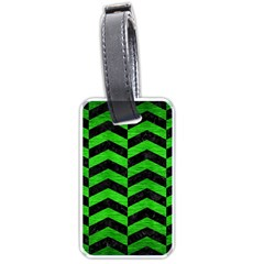 Chevron2 Black Marble & Green Brushed Metal Luggage Tags (one Side)
