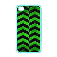 Chevron2 Black Marble & Green Brushed Metal Apple Iphone 4 Case (color)