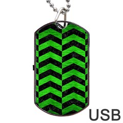 Chevron2 Black Marble & Green Brushed Metal Dog Tag Usb Flash (one Side)