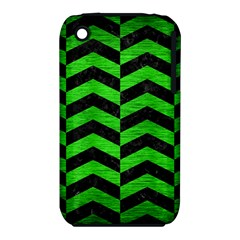 Chevron2 Black Marble & Green Brushed Metal Iphone 3s/3gs