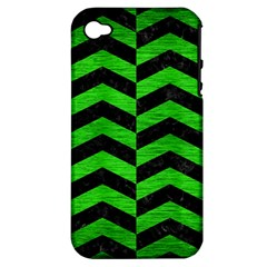 Chevron2 Black Marble & Green Brushed Metal Apple Iphone 4/4s Hardshell Case (pc+silicone)