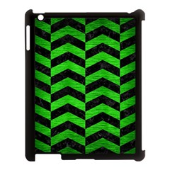 Chevron2 Black Marble & Green Brushed Metal Apple Ipad 3/4 Case (black)