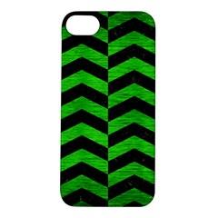Chevron2 Black Marble & Green Brushed Metal Apple Iphone 5s/ Se Hardshell Case
