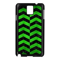 Chevron2 Black Marble & Green Brushed Metal Samsung Galaxy Note 3 N9005 Case (black)