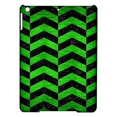 Chevron2 Black Marble & Green Brushed Metal Ipad Air Hardshell Cases