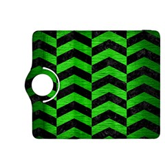 Chevron2 Black Marble & Green Brushed Metal Kindle Fire Hdx 8 9  Flip 360 Case