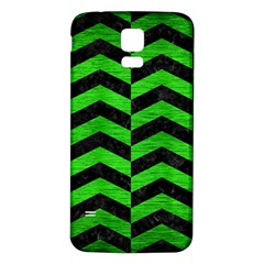 Chevron2 Black Marble & Green Brushed Metal Samsung Galaxy S5 Back Case (white)